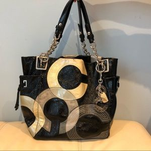 COACH black patent leather tote bag